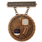 Badge, Qualification, Excellence in Competition, Pistol Shot, U.S. Air Force, Bronze, 1st Award, MIL-DTL-3628/86C